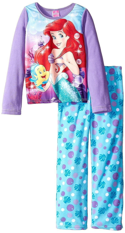 Disney Little Girls' Ariel Underwater Pals 2-Piece Pajama Set, Purple, 10