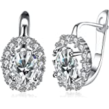 Yellow Chimes Crystals from Swarovski Clip-On Earrings for Women (Silver) (YCSWER-152HGHSPRK-SL)