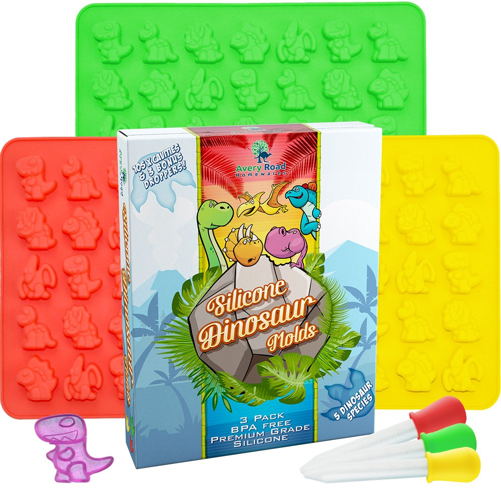 Dinosaur Gummy Bear Mold Silicone 3 Pack ~ BONUS 3 Droppers + Recipe PDF - non - BPA Large Gummie Candy Chocolate Molds – Bigger Gummies – Ice Cube Dinosaurs ~ Gelatin Trays Set