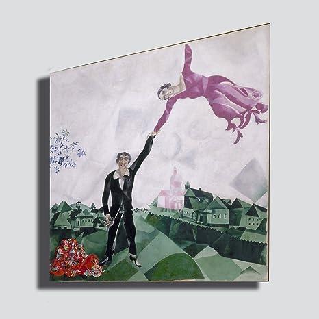Quadro moderno CHAGALL Marc passeggiata promenade - RIPRODUZIONE STAMPA SU  TELA Quadri Moderni Moderno Arte Cucina Soggiorno Camera da letto ...