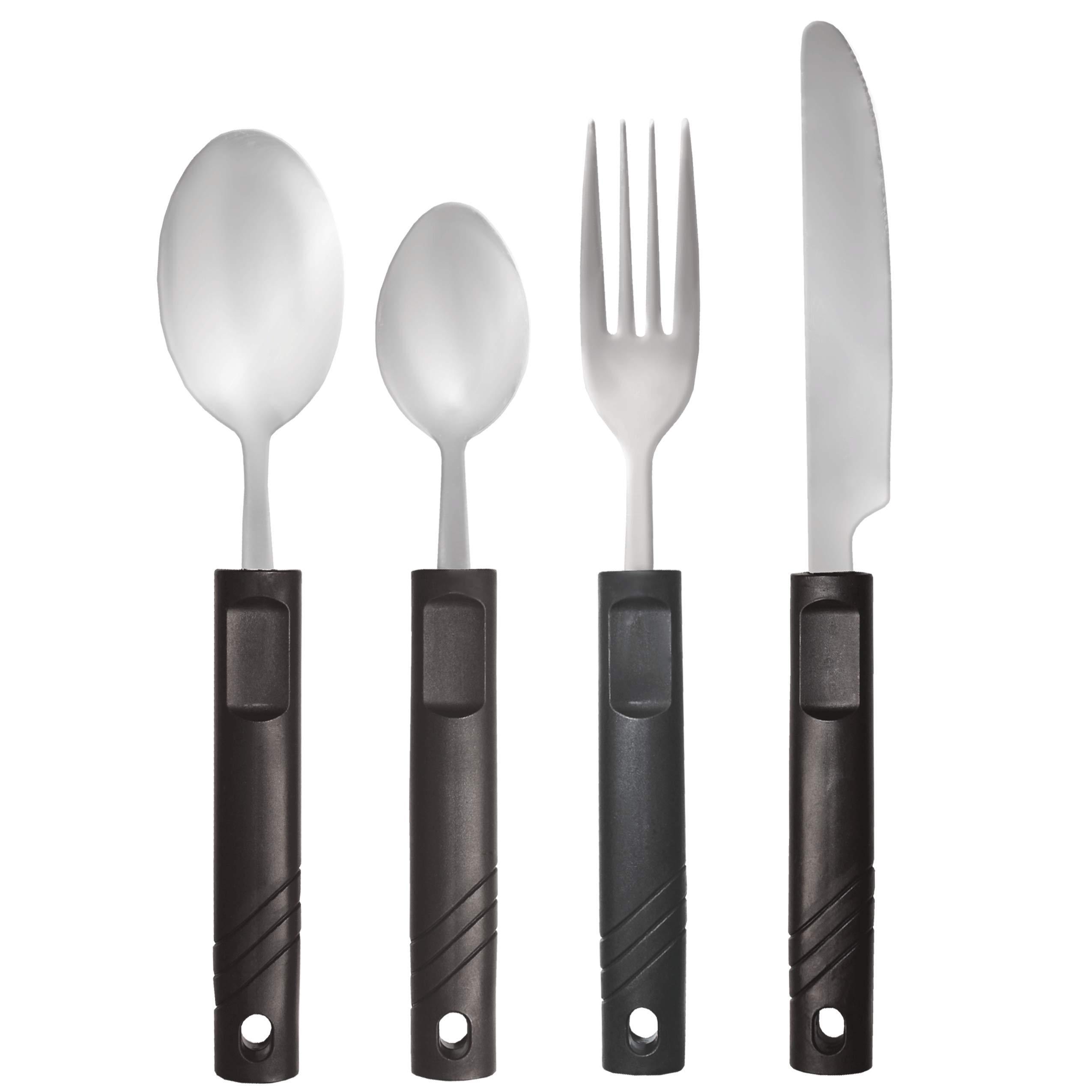 Rehabilitation Advantage Lightweight 4-piece Utensil Set - Fork, Knife, Tablespoon and Teaspoon