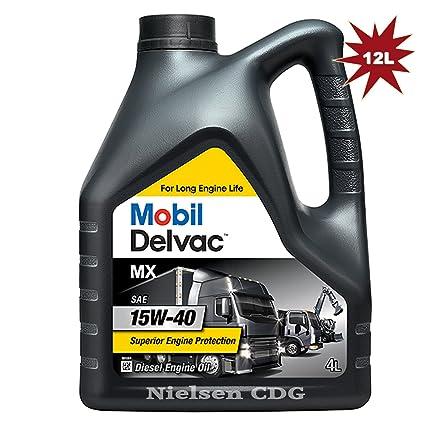 Mobil Delvaca MX - Aceite para motor diésel 15 W 40 3 x 4 L=12 ...