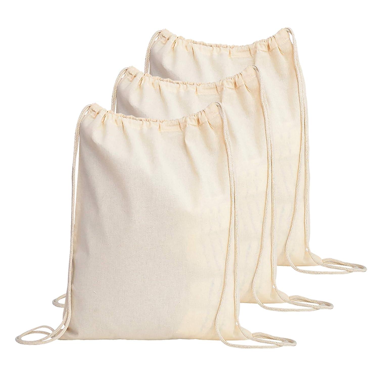 4a8a7a1c2c47 TBF Cotton Drawstring Backpack String Gym Sack Bag Canvas Cinch Sack Sport  Cinch Pack Backpack Rucksack for Men, Women, Kid, School, Travel (Natural,  ...