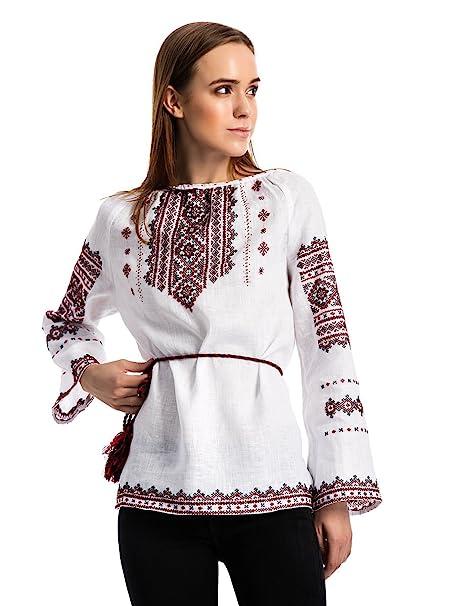 aeb0740f10b ETNODIM Ukrainian Ethnic Embroidered Linen Shirt Vyshyvanka Handmade ((0-2)  XS). Embroidered Long White Woman Dress.
