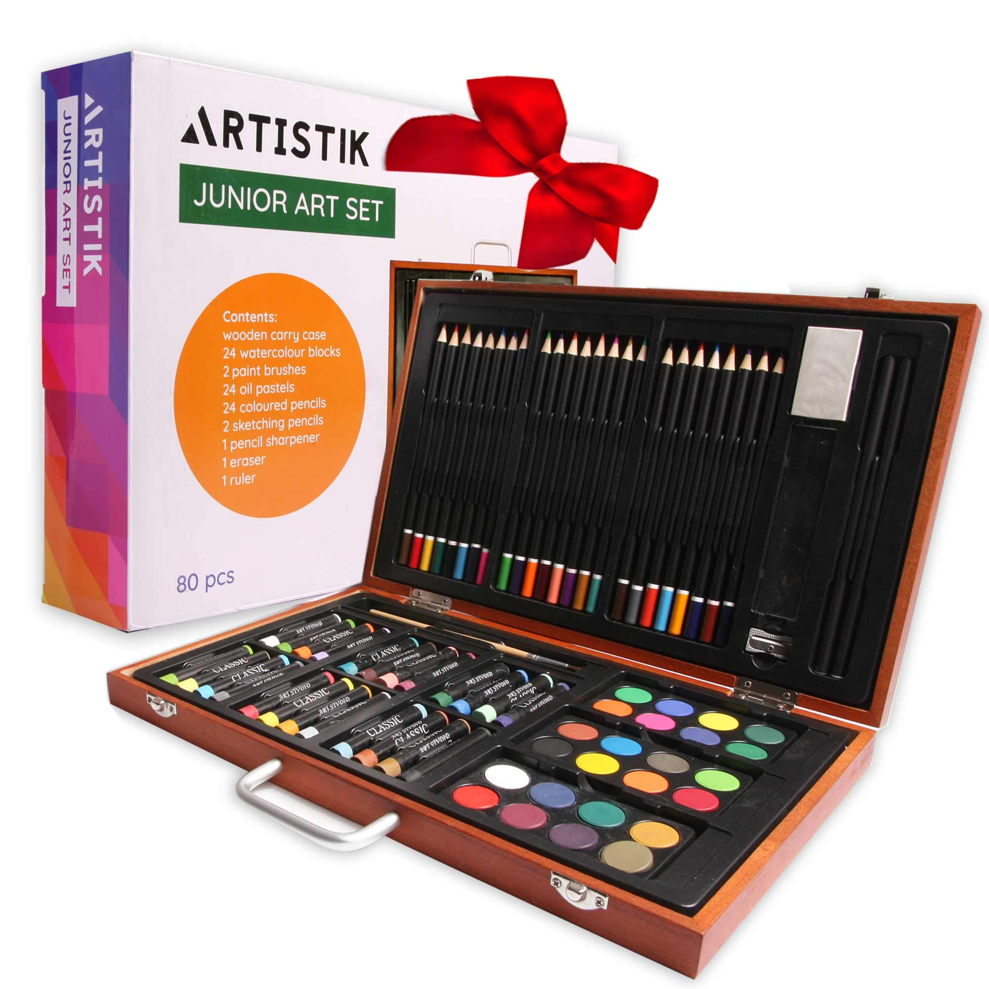 Wooden Art Set - (80 Piece) Deluxe Art Creativity Set and Professional Art Set Box for Coloring Beginners, Great Gift for Artists, Adults Teens, and Children by Artistik