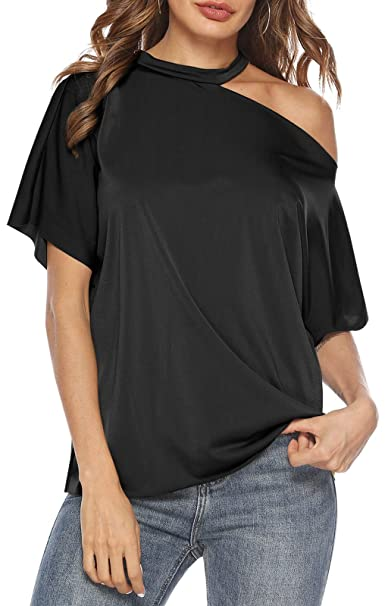 5f947173651 LouKeith Womens Tops Cold Shoulder Short Sleeve Cut Out Halter Blouse  Casual Loose Sexy Summer T