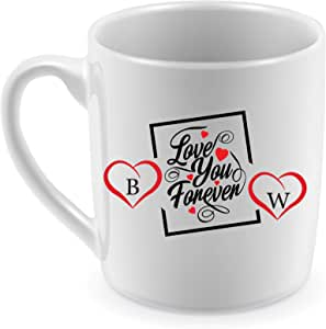 Ceramic Mug for Coffee and Tea with design Love You Forever and B&W Letters