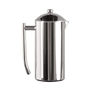 Frieling French Press Coffee Maker with Patented Dual Screen in Frustration Free Packaging, Zero Sediment, 18/10 Stainless Steel, No-drip Spout, Retains Heat 4x Longer Than Glass, Polished, 36-Ounce…