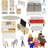 Pidoko Kids Wooden Dollhouse Furniture (33 Pcs) and 5 Family Dolls - DIY Accessories - Kitchen, Bathroom, Living Room, Bedroo