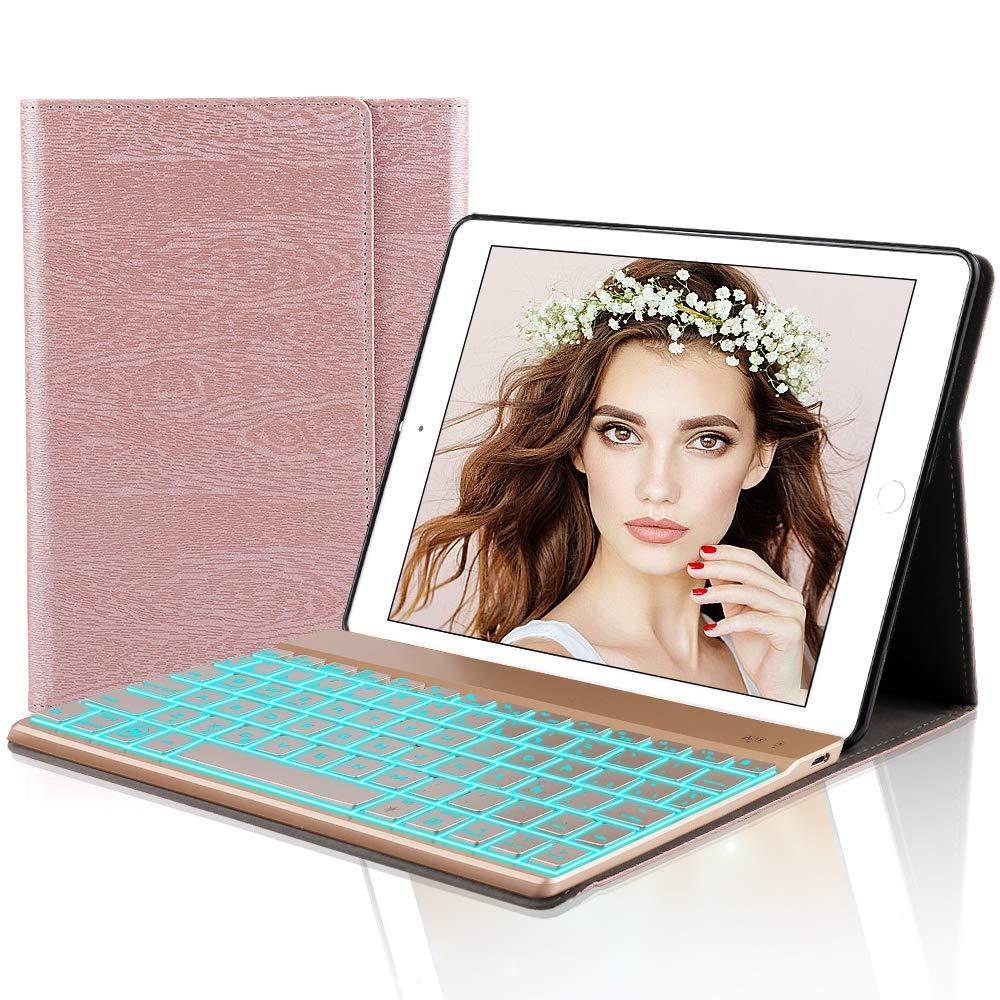 iPad 9.7 Español Teclado Funda,Dingrich Bluetooth inalámbrico QWERTY Teclado Case Pare iPad 9.7 2018