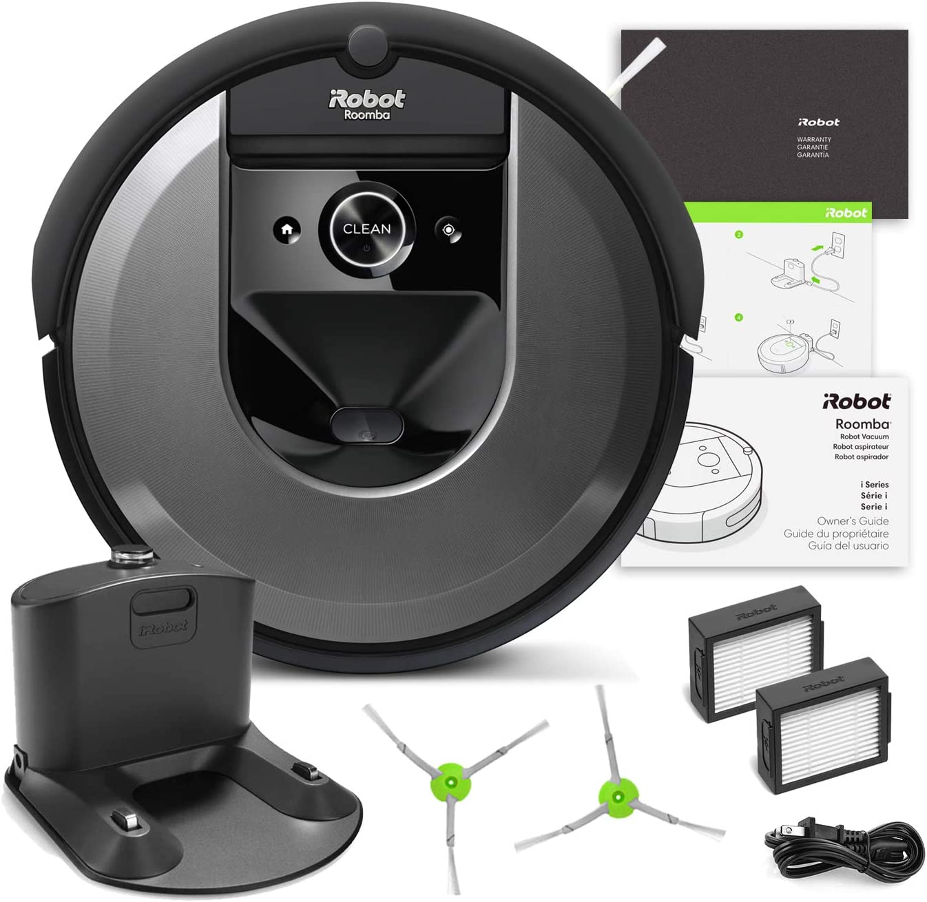 iRobot Roomba i7 Robotic Vacuum Bundle- Alexa Connected, Home Mapping, Great for Pet Hair 1 Extra Edge-Sweeping Brush, 1 Extra Filter