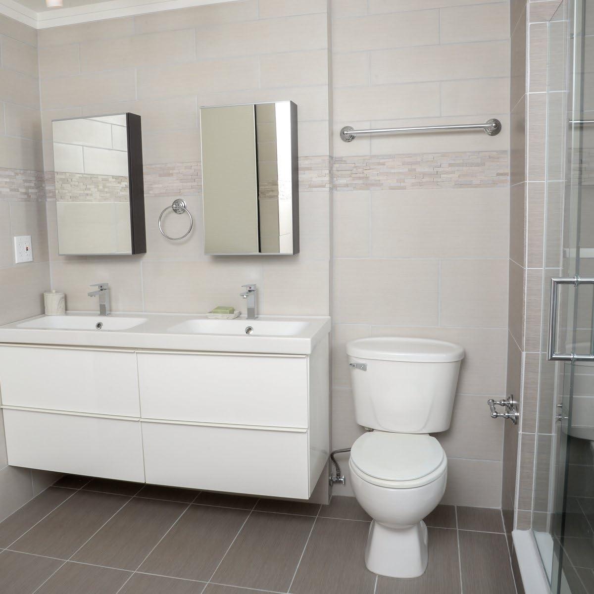 3 Piece Basics Modern Bathroom Accessories Set Satin Nickel