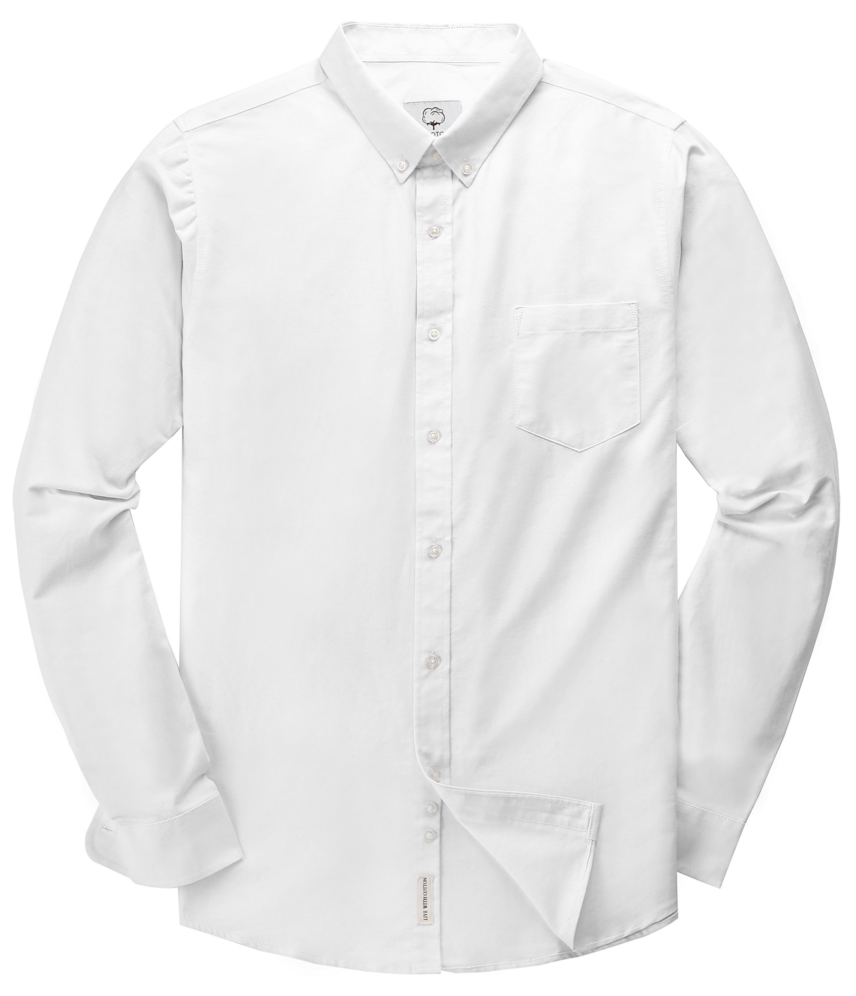 Men's Oxford Long Sleeve Button Down Dress Shirt,White,Medium