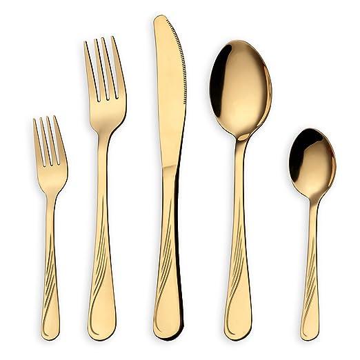 HOMQUEN Set de cubiertos de acero inoxidable de 30 piezas, set de cubiertos brillantes de oro, cuchillos, tenedores de cucharas para 6 personas (oro, ...