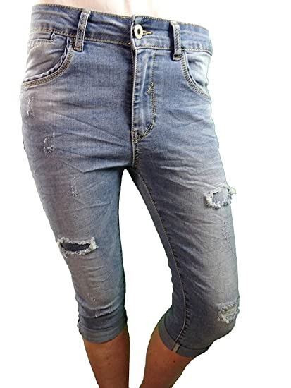 Jewelly by Lexxury Damen offene Knopfleiste Baggy Boyfriend Stretch Bermuda Capri Shorts Krempel Hose