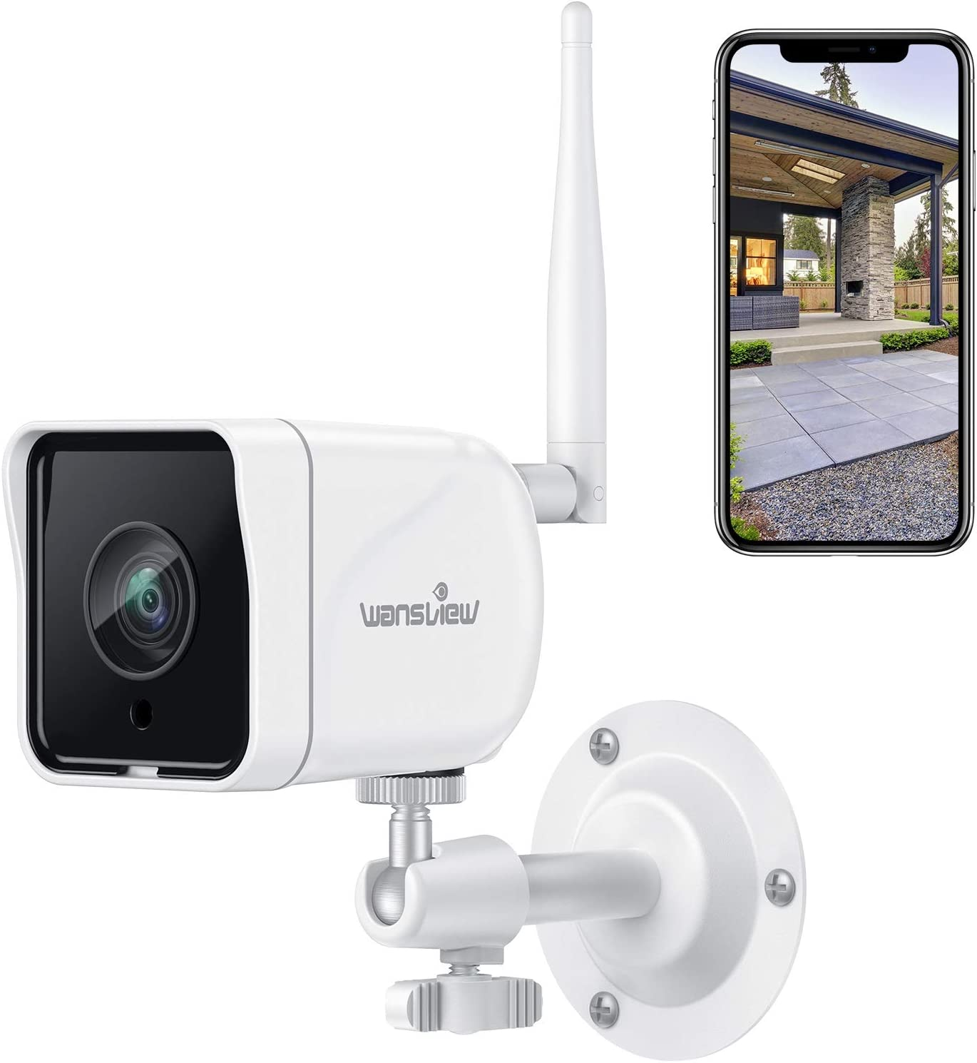 Wansview Cámara Vigilancia WiFi Exterior, 1080P Cámara IP WiFi de Seguridad con Visión Noturna Detección de Movimiento Audio Bidireccional, Soporta Alexa RTSP Onvif, IP66 Impermeable, W6 (Blanco)
