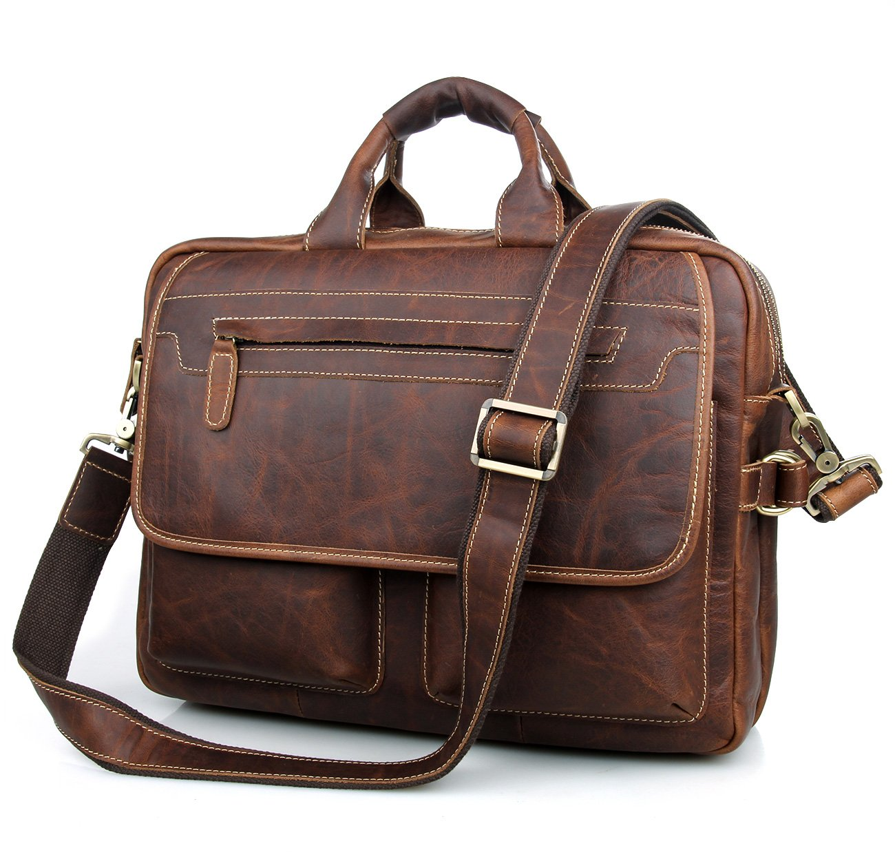 Texbo Men's Vintage Cowhide Leather Briefcase Fit 15.6 Laptop Bag