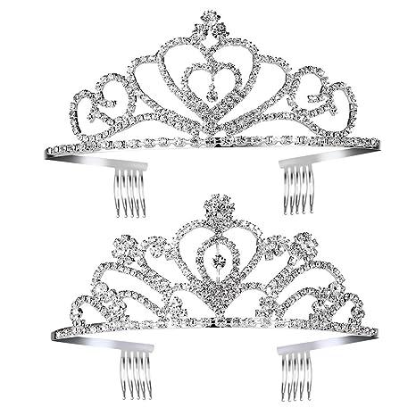 frcolor princesa Tiara Set 2pcs niños niñas cristal Tiara coronas de princesa accesorios para el pelo
