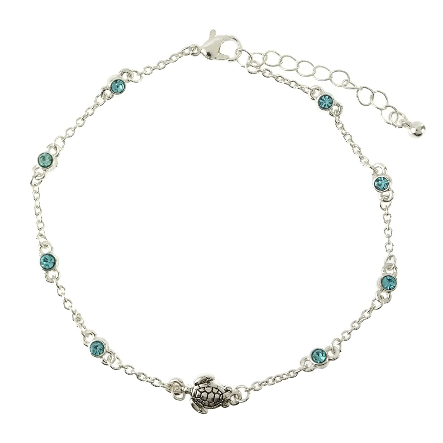 Elosee Women's Turtle Charm Color Stone Sealife Link Anklet AT