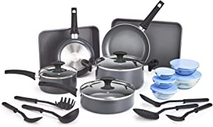 BELLA 21 Piece Cook Bake and Store Set, Kitchen Essentials for First or New Apartment, Assorted Non Stick Cookware, 9 Nylon Hassle-Free Cooking Tools, 5 Glass Storage Bowls w Lids, BPA & PFOA Free