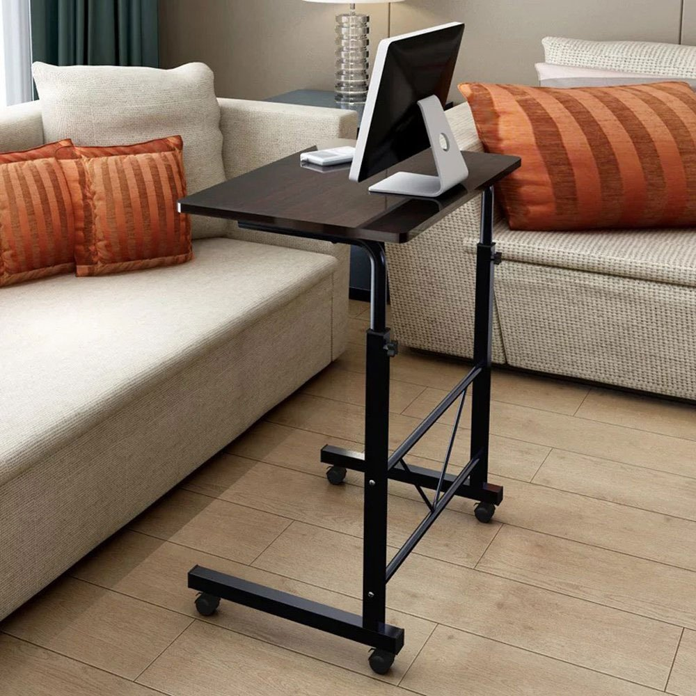 Azadx Side Table, Laptop Stand Adjustable 34.25'' Computer Standing Desk Portable Cart Tray Side Table with 4 Wheels for Bed Sofa Hospital Reading Eating (Black) by Azadx