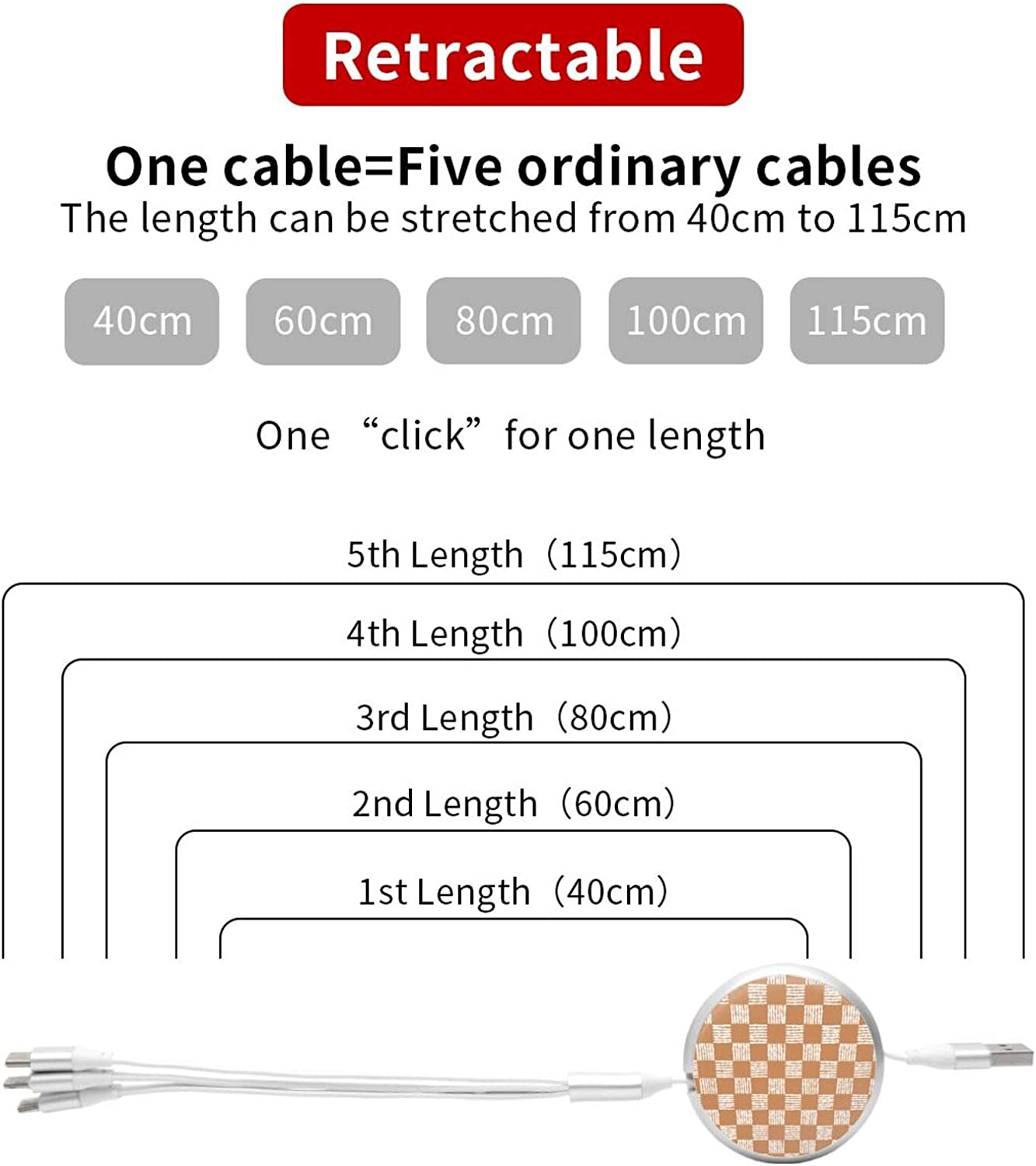 Multi Charging Cable Portable 3 in 1 Simple Pattern of Chess Cells USB Cable USB Power Cords for Cell Phone Tablets and More Devices Charging