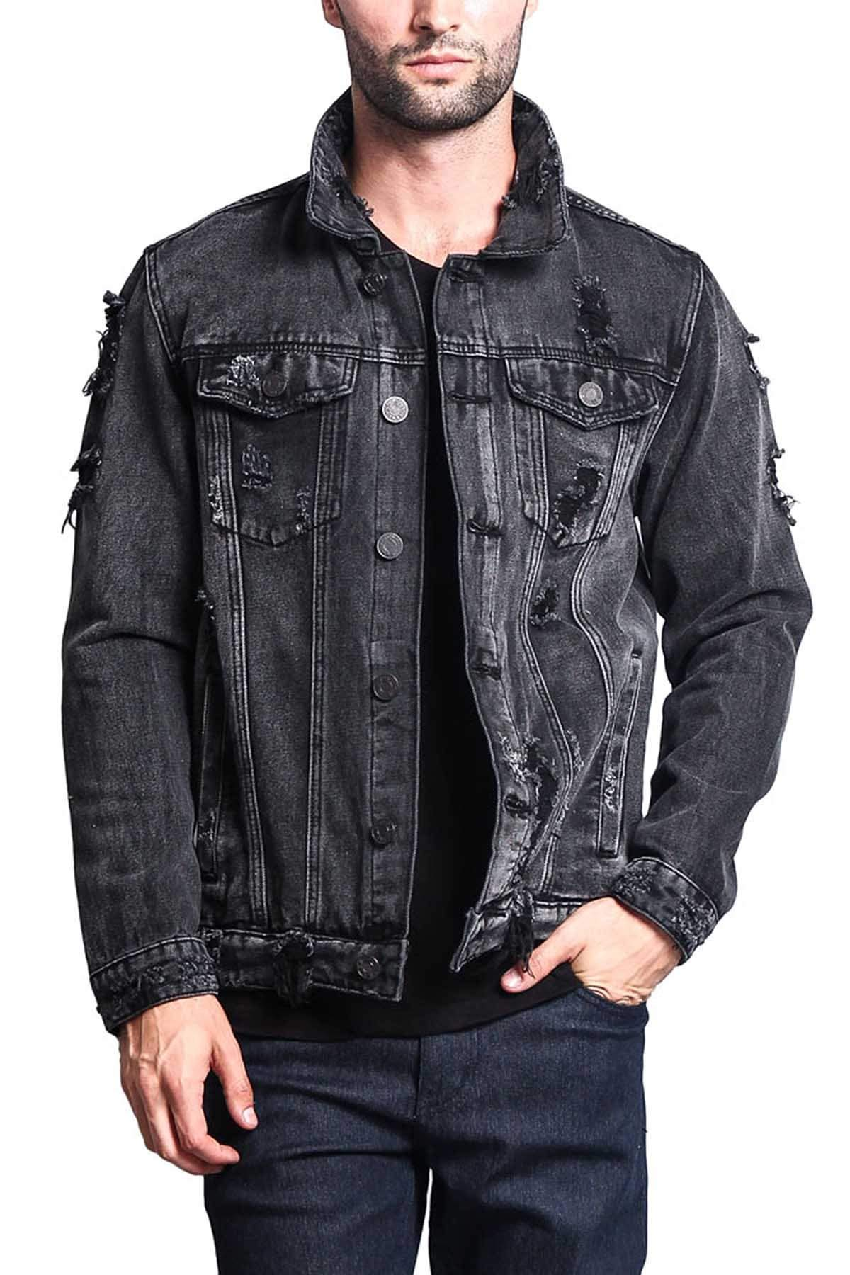 Victorious Distressed Denim Jacket DK100 - Black - Small - II7C by Victorious