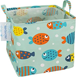 Square Storage Bins Waterproof Canvas Kids Laundry/Nursery Boxes for Shelves/Gift Baskets/Toy Organizer/Baby Room Decor (Square Turbot fish)
