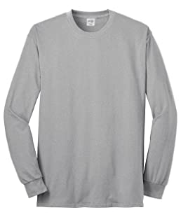 Port & Company Men's Long Sleeve 50/50 Cotton/Poly T Shirt M Ash
