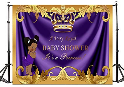 DLERGT 7x5ft Baby Shower Backdrop Royal Little Princess Purple Crown Photography Background Vinyl Gold