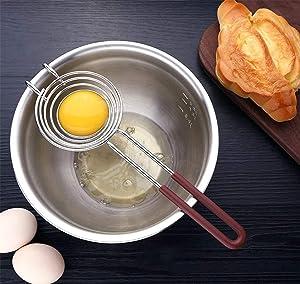 Egg Separator Egg Yolk White Separator Egg Yolk Separator Kitchen Gadgets Egg Separator Tool Food Grade Stainless Steel Egg Whites Liquid Egg Splitter Gravy Separator Cooking Gadgets ES0529