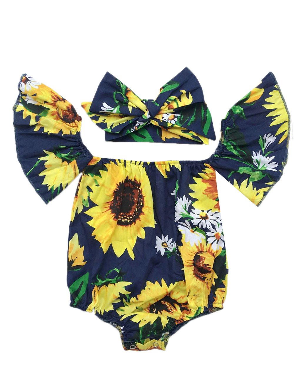 iClosam Baby Girl's Floral Print Ruffles Off Shoulder Romper Summer Clothes with Headband