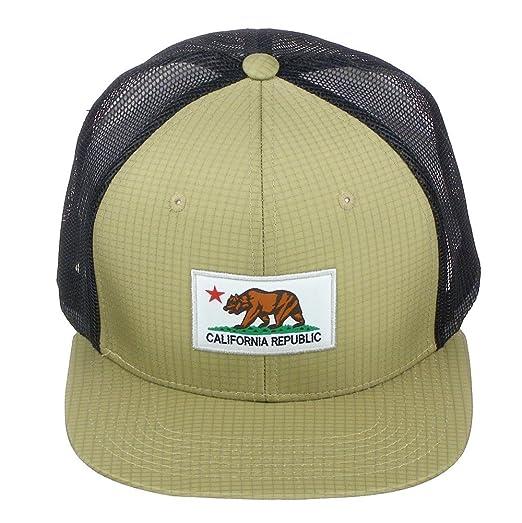 Pit Bull California Republic Bear Logo Snapback Vented Mesh Hat Baseball Cap  - Black Khaki ea244dc0214d