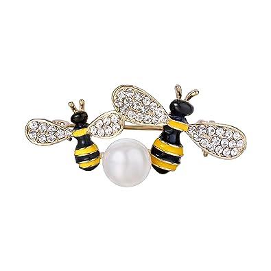 TENYE Women's Austrian Crystal Enamel Lovely Honeybee Insect Animal Brooch Clear Silver-Tone xl6C6Ctl