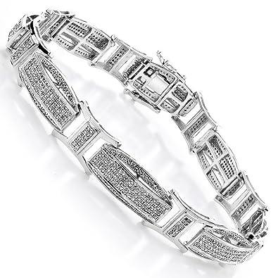 Amazoncom Luxurman Diamond Bracelets 14K Men Natural 24 Ctw Micro
