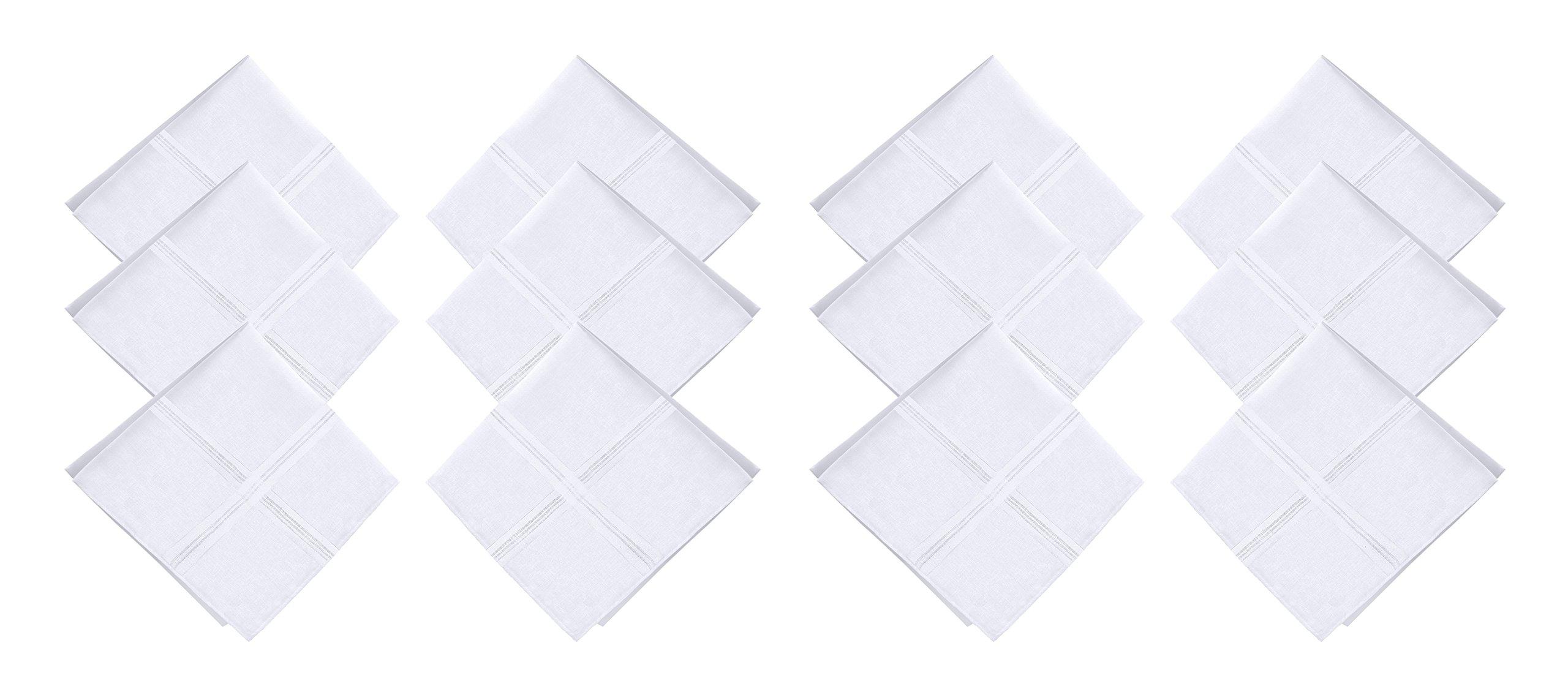 JFL - 100% Pure Cotton White Handkerchiefs for Men & Boys - 12 Pieces