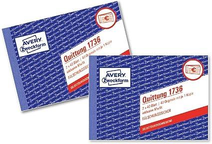 2x Zweckform Quittung 1736 A6 Fälschungssicher je Buch 2x40 Blatt AVERY