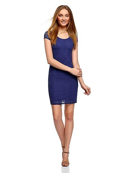 oodji Ultra Mujer Vestido Entallado de Encaje, Azul, ES 34 / XXS