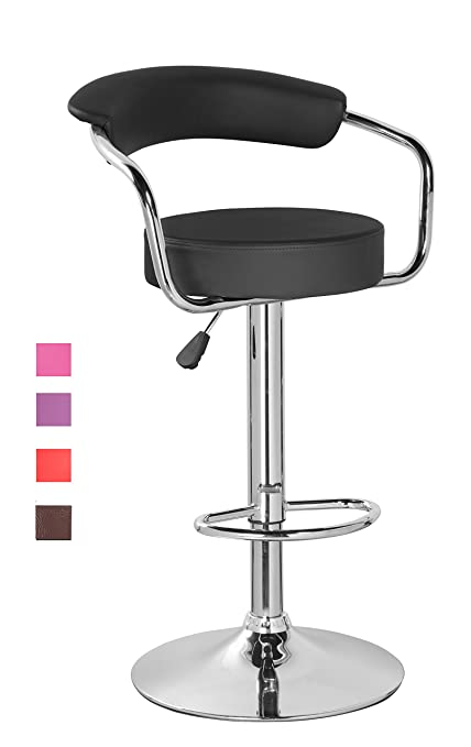 KERLAND PU Leather Swivel Adjustable Seat Height Home Kitchen Bar Stool  Chair With Padded Back And