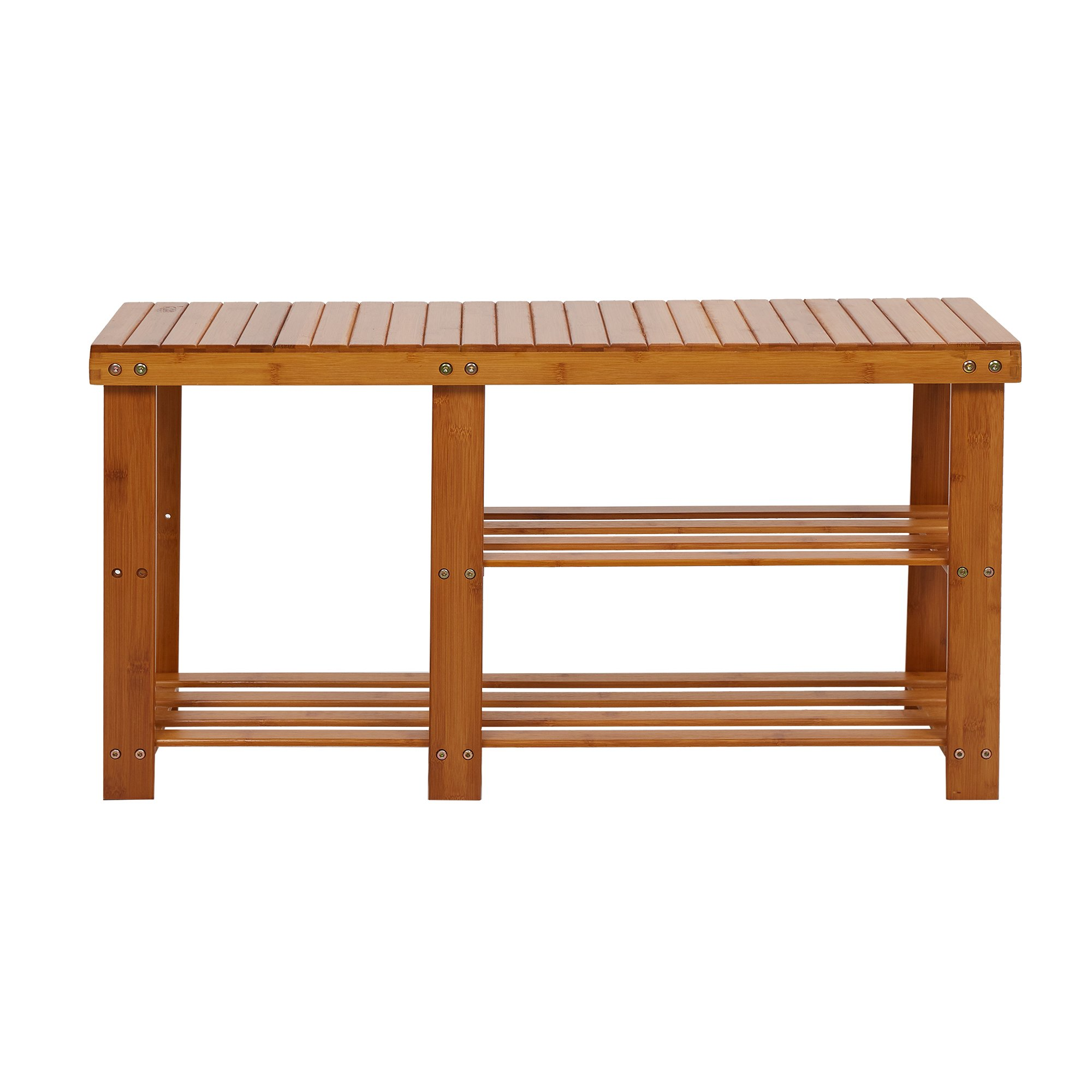 KARMAS PRODUCT Shoe Bench Bamboo Rack Shelf Organizer Entryway Storage Rack with High and Low Levels for Adult and Child