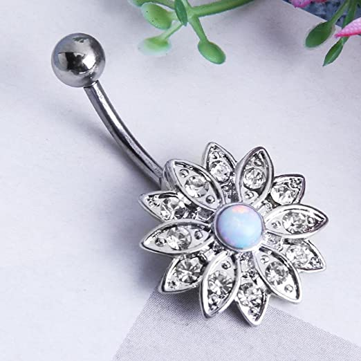 Amazon.com  Jocestyle Belly Button Rings Woman Elegant Natural Body  Piercing Jewelry Opal Crystal Flower Button Navel Nail  Beauty 239d1b0f44d6
