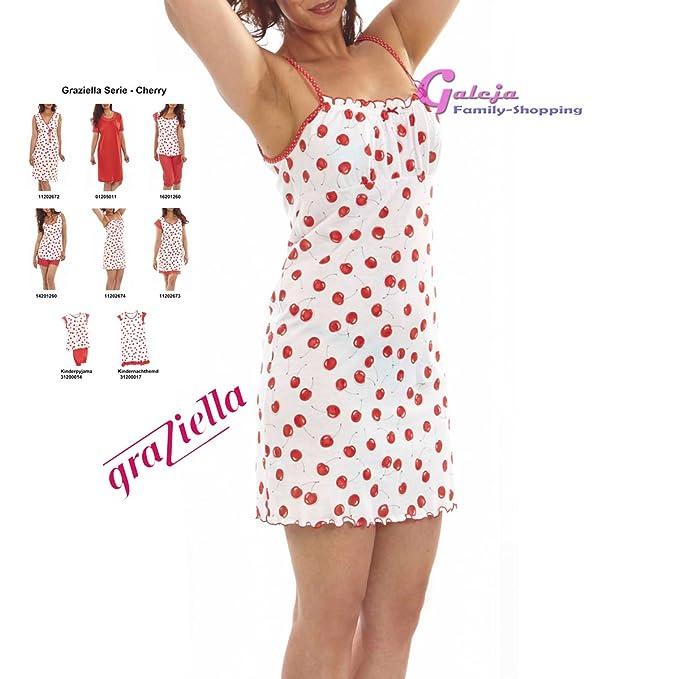 4fac5f5dc3 Graziella Nachthemd Cherry Sleepshirt mit Spaghetti-Träger 42/44 Nachtwäsche  100% Baumwolle: Amazon.de: Bekleidung