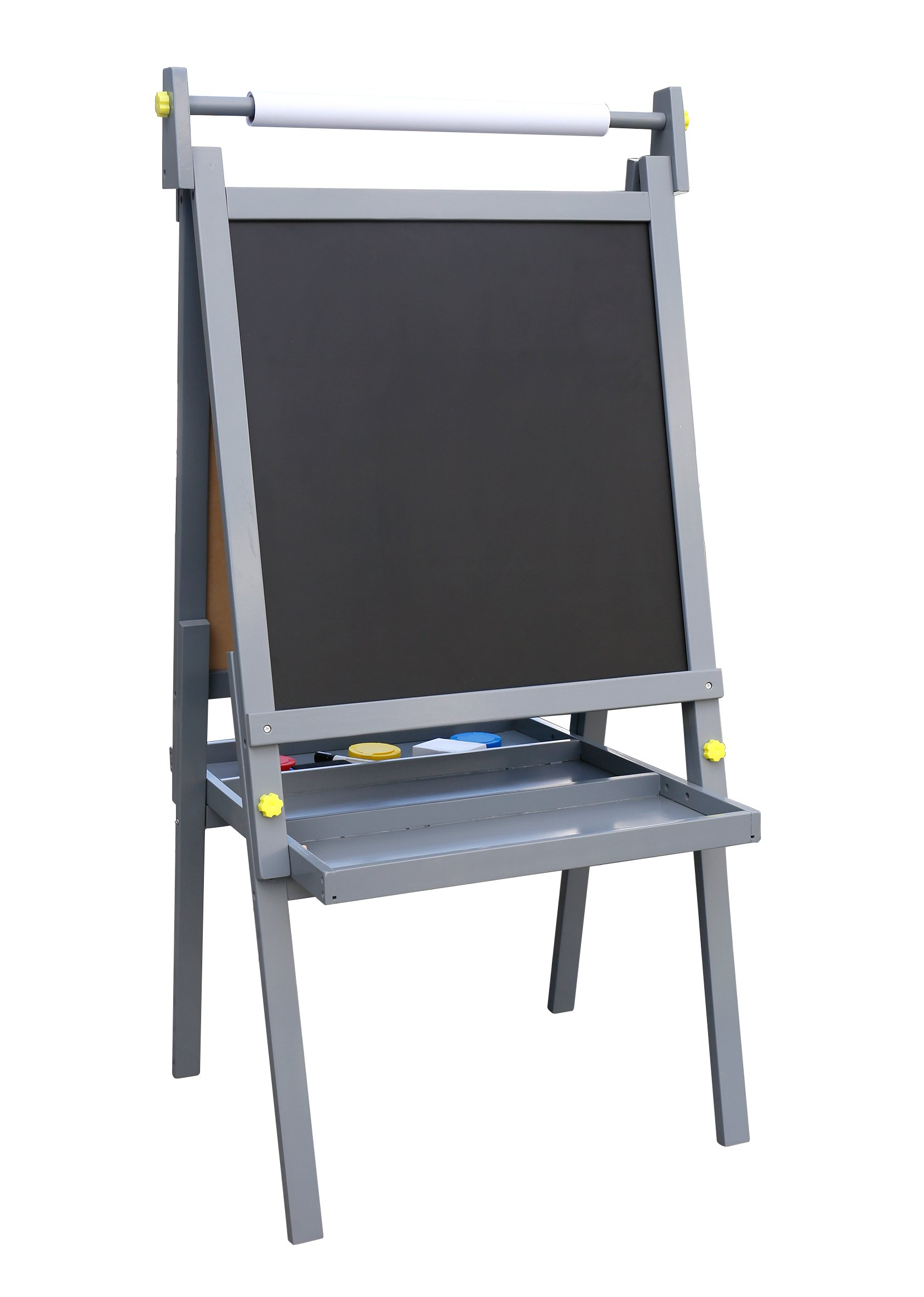 Pidoko Kids Standing Art Wooden Easel, Grey - Magnetic Dry Erase Board, Chalk Board and Paper Roller - 2 Sided A-Frame with storage compartment and paint cups - Art Station for Boys & Girls (Gray)