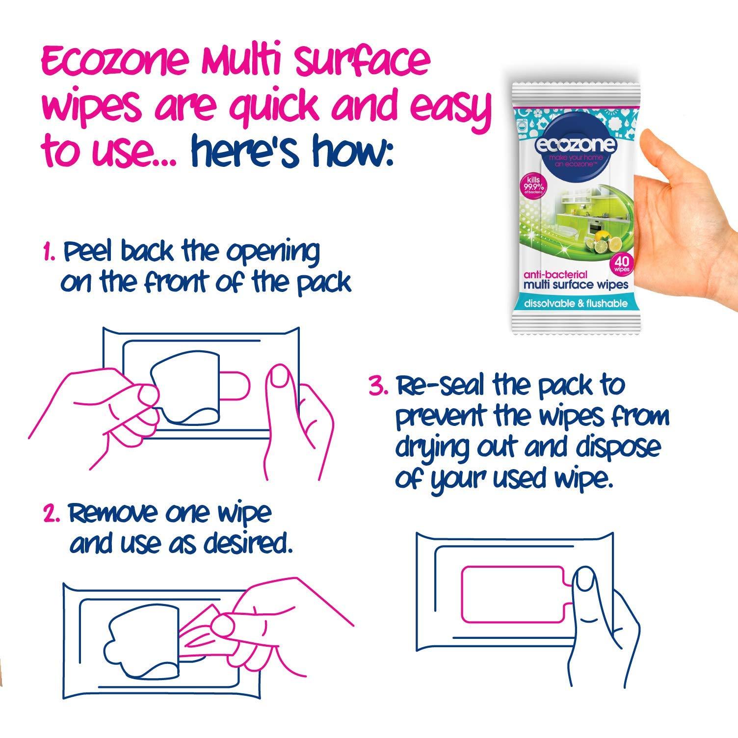 1 x 40 Ecozone Anti bac Lingettes multi-surfaces