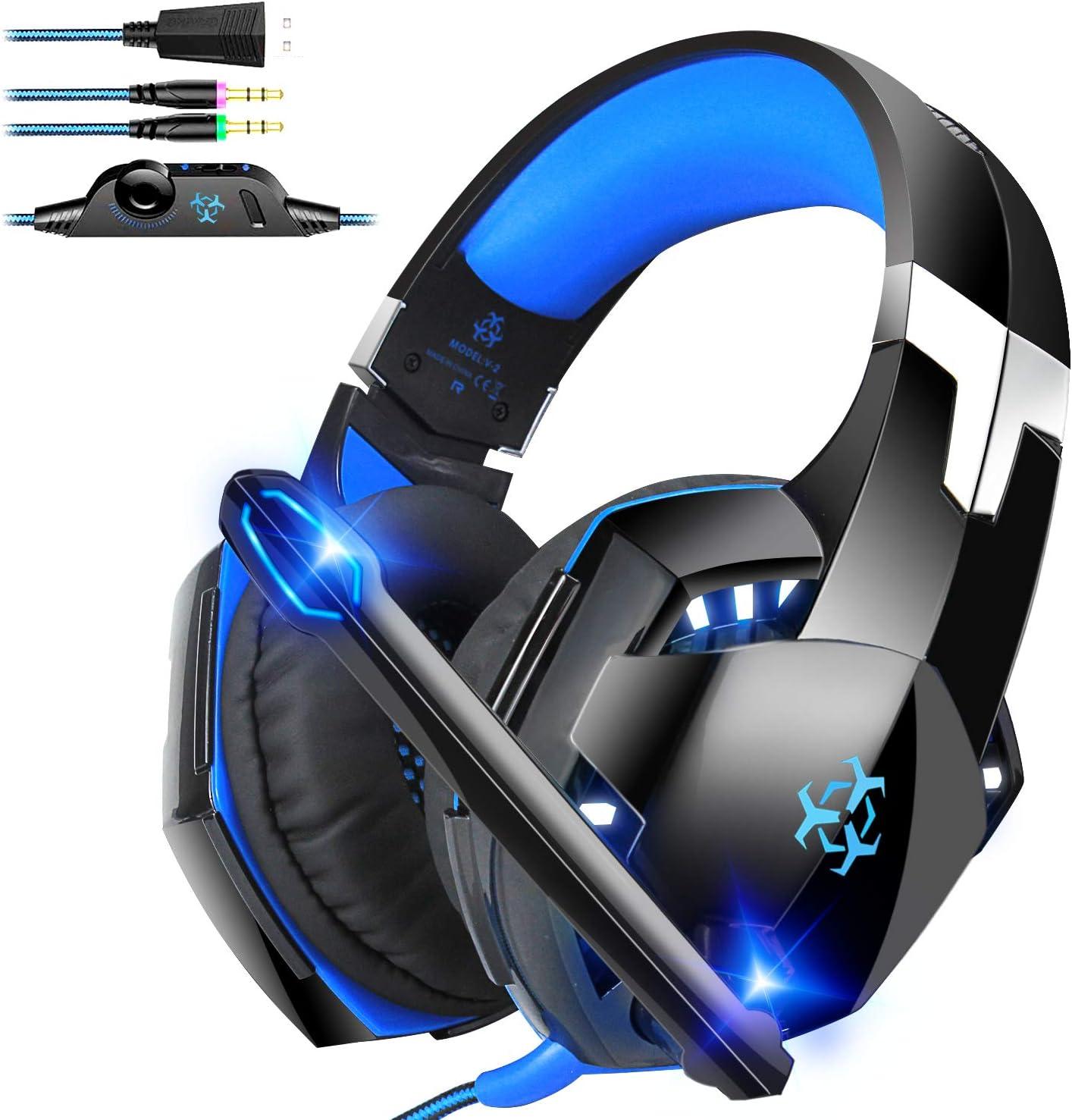 Bovon Cascos Gaming, Auriculares Gaming para PC/Tablet/Laptop, de 3.5 mm Jack, Sonido Estéreo y Cancelación de Ruido【No Funciona para PS4 / Xbox One】