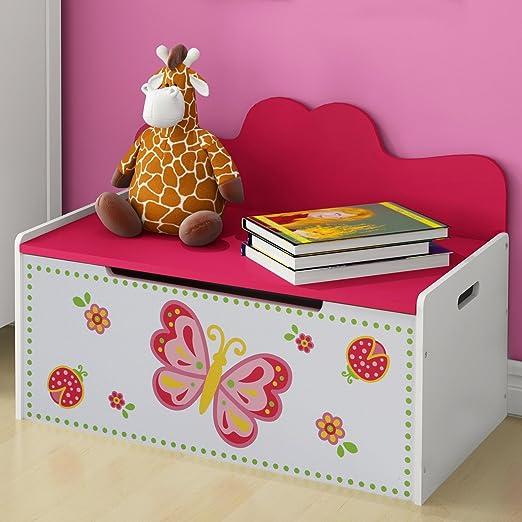 Truhenbank Kinder - Höhe 47,5 cm, Weiss, Rosa, Groß, Stauraum für das  Spielzeug oder Anderes - Sitzbank Kinderzimmer, Kindermöbel,  Spielzeugtruhe, ...