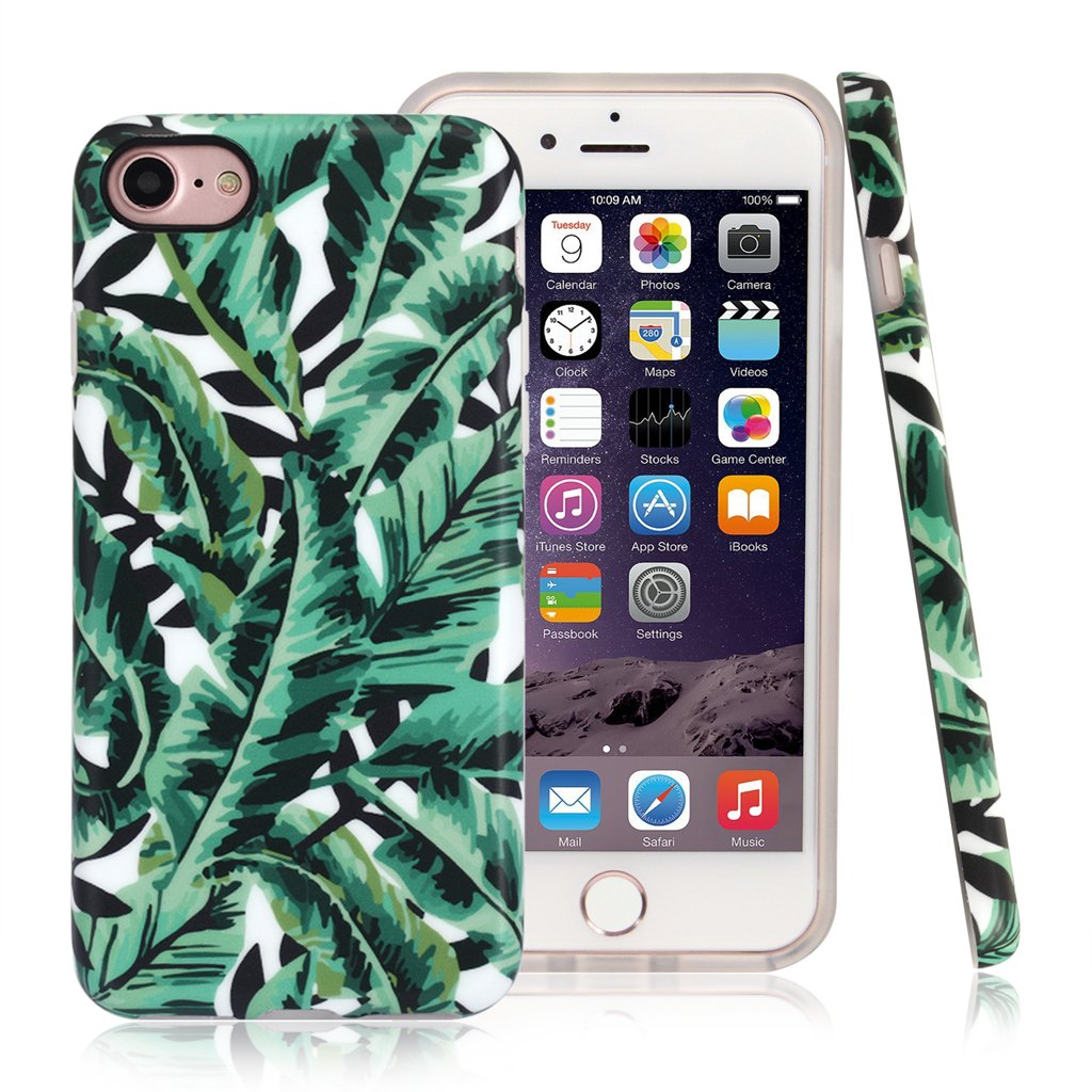 Nasousa iPhone 7 for Girls,Cute Iphone 8 case,IMD Printing Slim-Fit Ultra-Thin Anti-Scratch Shock Proof Dust Proof Anti-Finger Print TPU Case for iPhone 7 8 (4.7 inch)(Banna Leaf #2)
