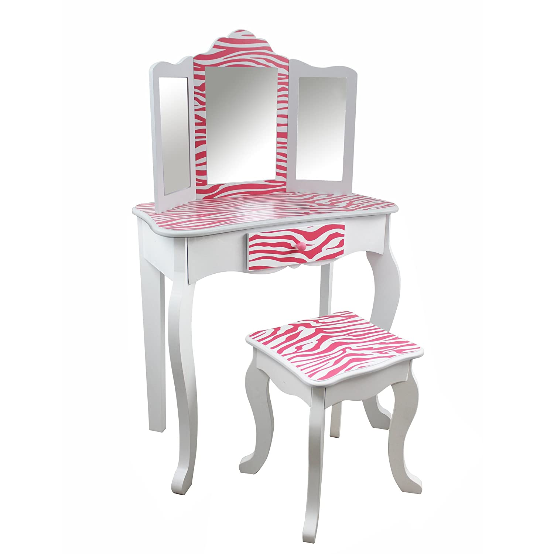 Pink//Black Leopard Teamson Kids Fashion Prints Vanity Table and Stool Set