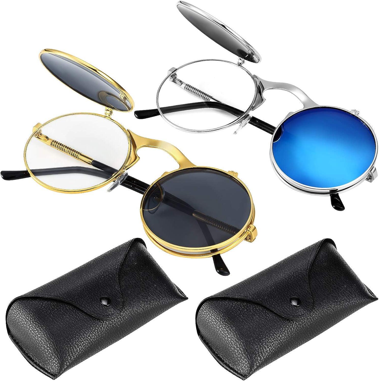 2 Pieces Retro Flip-Up Round Mirror Colored Lens Sunglasses for Men Women