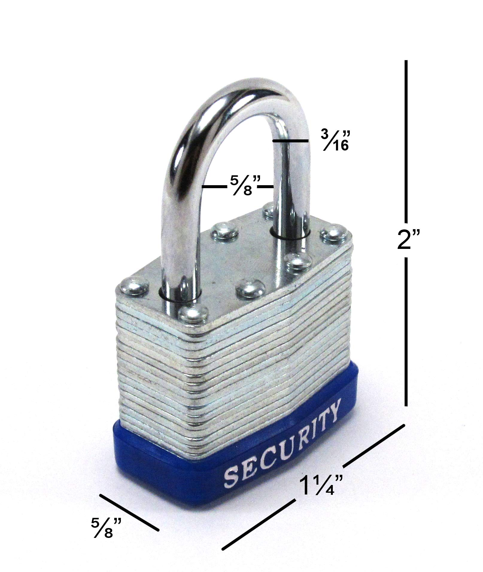 Elitexion Heavy Duty Laminated Steel Padlock, Commercial Grade Keyed Alike 1-Inch (Pack of 12) by Elitexion (Image #3)